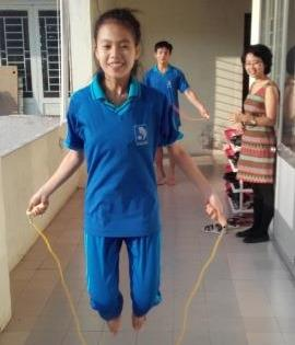 Student practicing jumping rope in PN Vietnam Premices